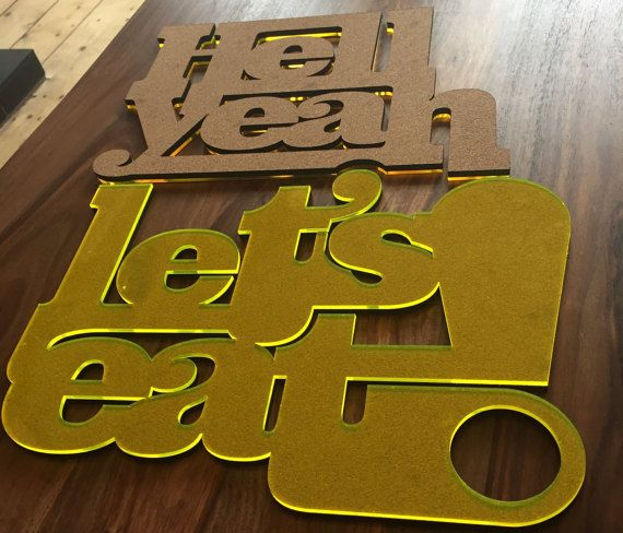Hell Yeah Lets eat! Cork AND Acrylic laminated table setting placemats tablets pair. By FeistyTypeHomeware on Etsy