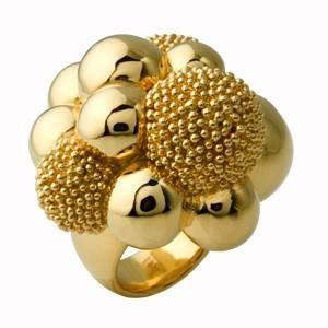 #Anello in oro lucido e granulato.