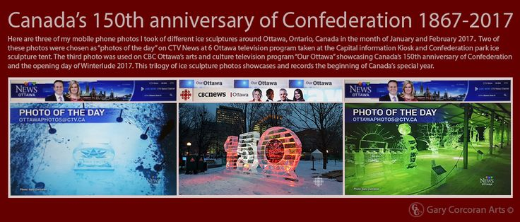 "Here are three of my mobile phone photos I took of ice sculptures in Ottawa, ON, CAN in the month of January and February 2017. Two of these photos were chosen as ""photos of the day"" on CTV News at 6 Ottawa television program taken at the Capital information Kiosk and Confederation park ice sculpture tent. The third photo was used on CBC Ottawa's arts and culture television program ""Our Ottawa"" showcasing Canada's 150th anniversary of Confederation and the opening day of Winterlude 2017."