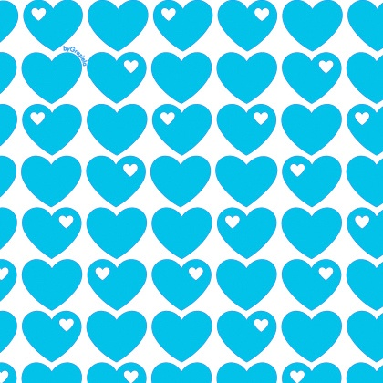 Herzen Baumwollstoff Blau-Türkis
