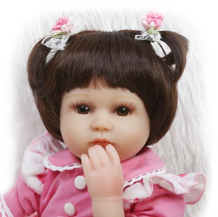 63.75$  Buy now - http://alikkr.worldwells.pw/go.php?t=32694122400 - 17'' Mini-Baby -Reborn Doll With Flower Handmade Clothes Best Early Enducational Doll Brinquedos Para Bebe Brand Christmas Gift