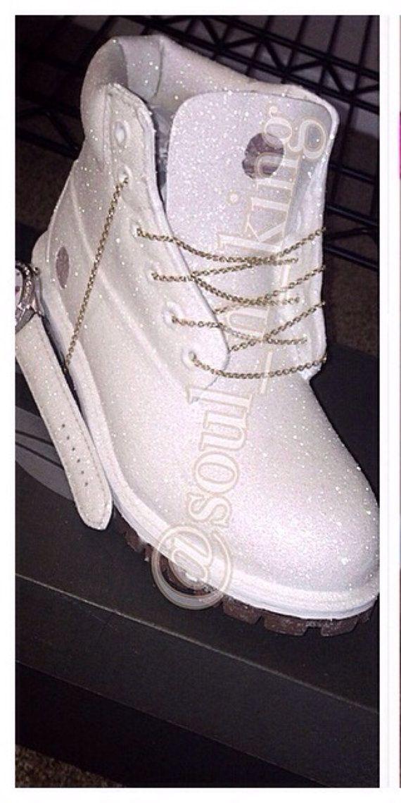 White Diamonds Custom Made Timberland Boots glitter by kingOFsole