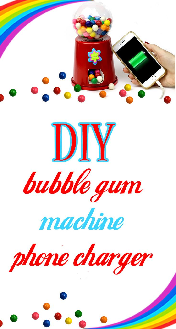 DIY Bubblegum Machine Phone Charger! Learn How To Make A Candy Machine (Gumball) Phone Charger that is working! This is an easy and cool DIY Tutorial that combines 2 fun things - bubblegum and a place to charge your phone! In this DIY video tutorial learn how to make your own working gumball machine that is so  easy. This DIY phone charger decoration is perfect for cute room decor. You canmake a portable phone charger into a working candy machine.Fun DIY recycled craft idea!