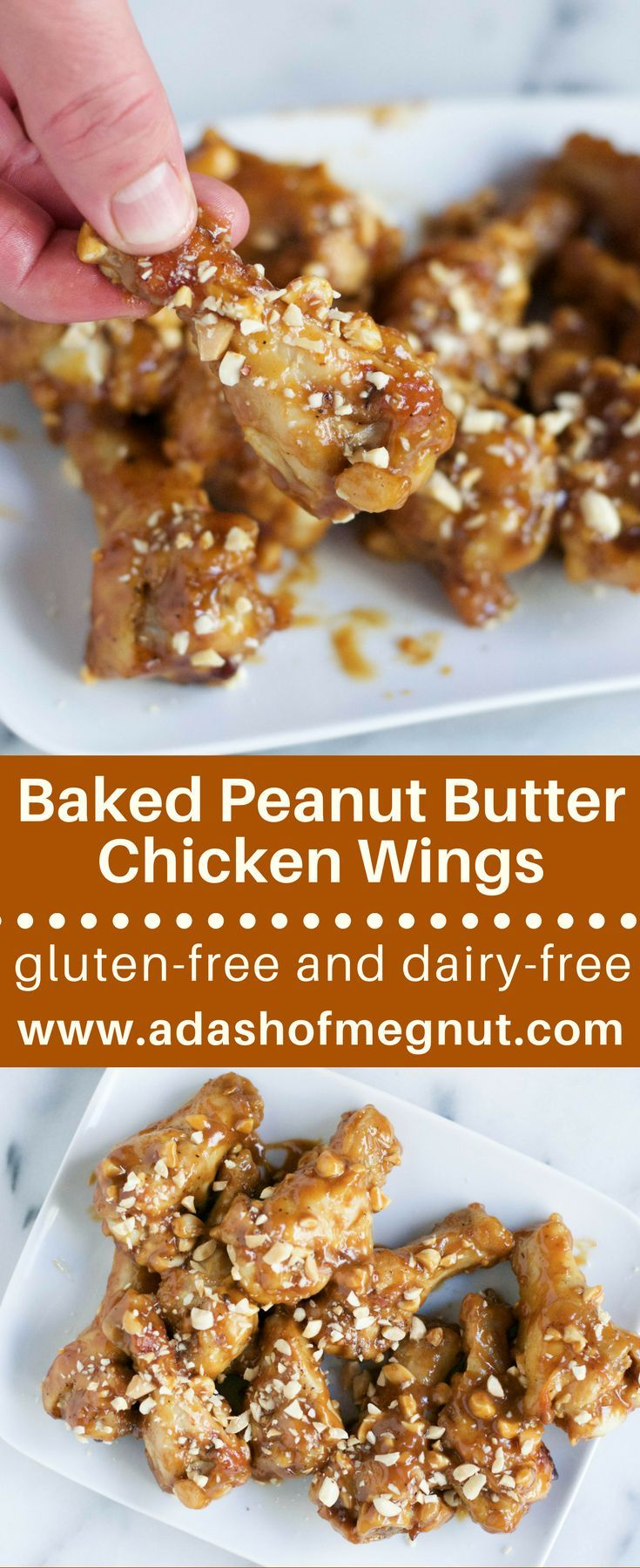 You'll love the flavor of these peanut butter chicken wings! Gluten-free tamari sauce, honey, and garlic help make peanut butter into a luscious sauce over these tender wings. They're baked (not fried!), gluten-free and oh so crispy! Look no further for the perfect game day appetizer - though you might not want to share!#glutenfree #dairyfree #entertaining #potluck  via @adashofmegnut
