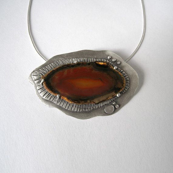 Brown Red Agate Slice Sterling Silver Necklace  by applenamedD