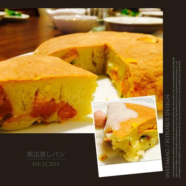 蒸しパンのはずがだいぶかけ離れてホットケーキみたいに - 80件のもぐもぐ - 炊飯器で南瓜の蒸しパン‼︎ by (⑅︎maˊᵕˋk i⑅︎ )