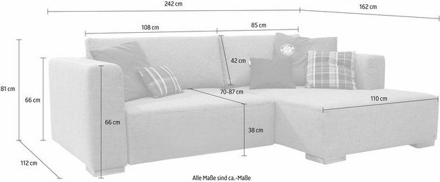 Corner sofa »HEAVEN STYLE COLORS«, left ottoman, optionally with bed function   – Products