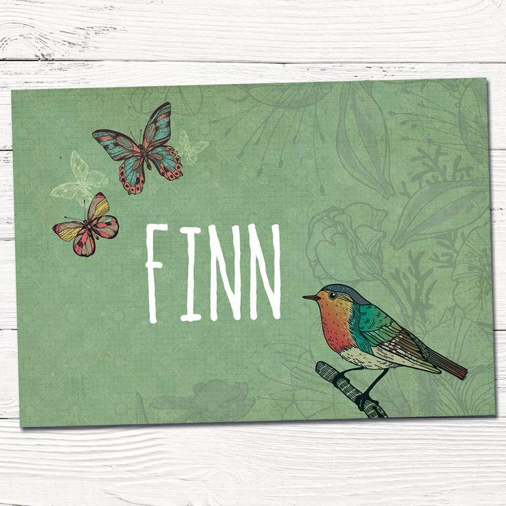 Geboortekaartje getekend vogel en vlinders   retro   kaartje ontworpen op maat   tekening   grafisch   design   indie   babykaartjes