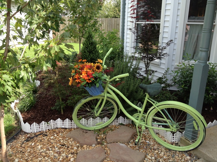 Turned My Old Bike Into A Garden Ornament. I Will Replace The Artificial  Flowers With