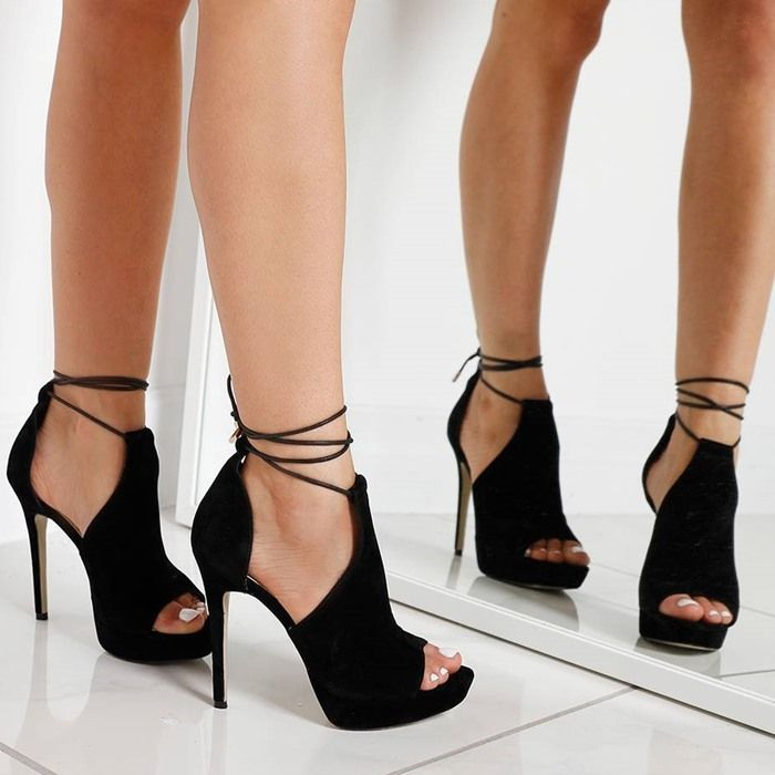 'Cersei' Lace Up Heel In Black Faux Suede