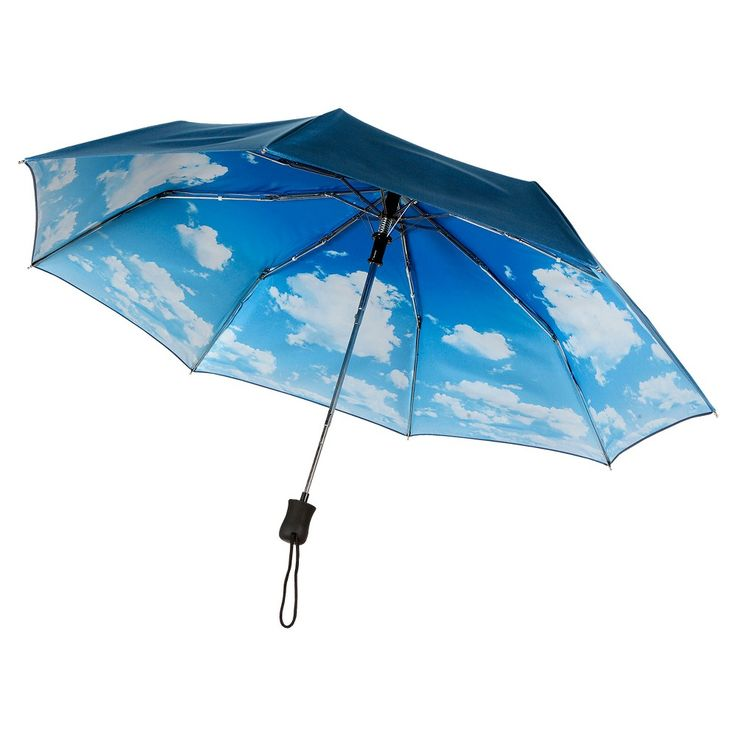 Auto Open Compact Umbrella - Clouds, Blue