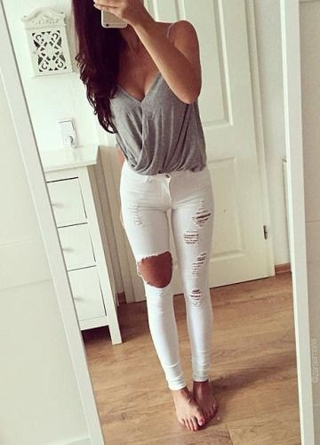 163 best images about cute outfit ideas on Pinterest | White jeans Ripped jeans outfit and ...