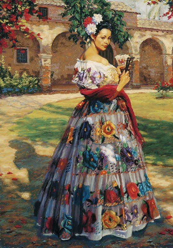 Color-rich depiction of beautiful senorita by  Jean Hildebrant