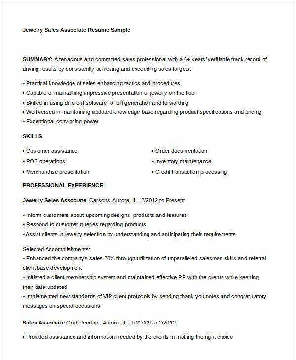 Jewelry Sales Associate Resume Best Of 7 Sales Associate Resume Templates Pdf Doc