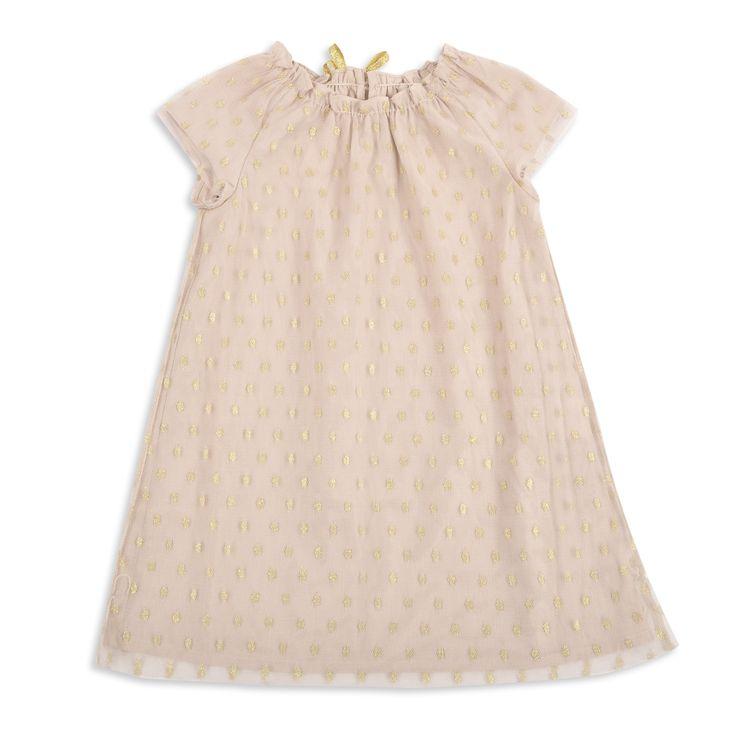 Vestido EPK de tull para niña, en color crema con puntos dorados.