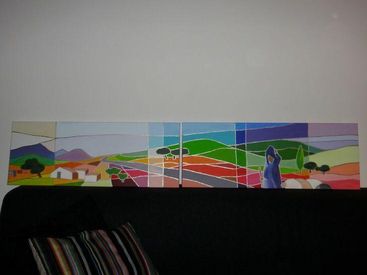 Painting Moroccan fields / schilderij