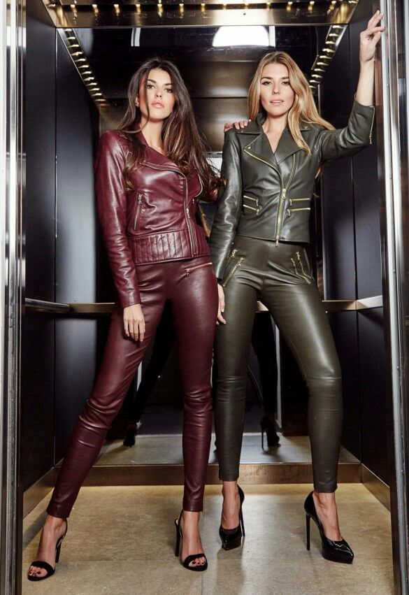 Girls in red and green leather jacket and pants ensembles