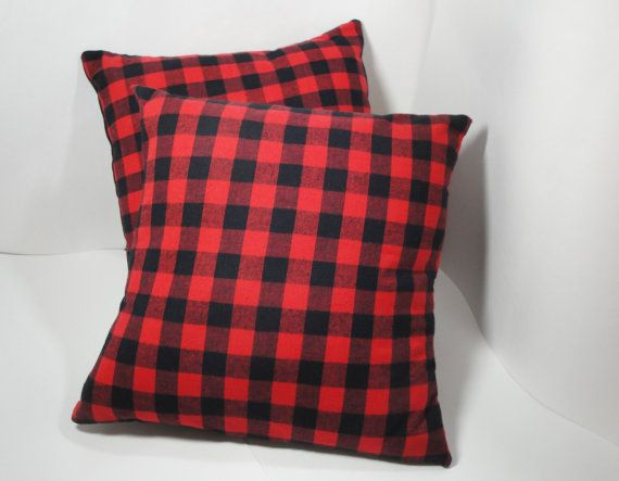 Pillow covers red black check flannel cabin by SewnInspirations, $24.00