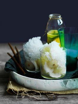 Coconut snow cones with pineapple-ginger syrup