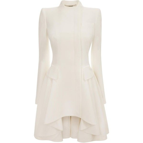 Alexander McQueen White Crepe Circle-Drape Dress-Coat ($3,560) ❤ liked on Polyvore