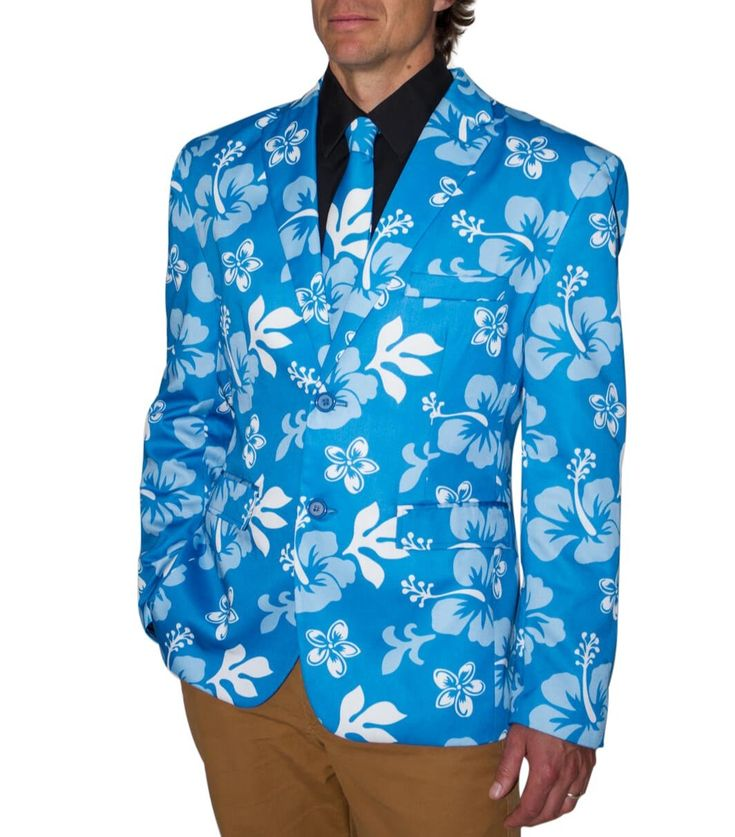 Stir Clothing Co. The Big Kahuna Hawaiian Blazer - Floral Print Jacket (40, Blue Hibiscus)
