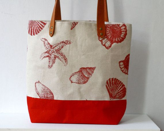 Beach Tote Bag, Linen Bag with red Seashell print and leather handle, Large summer holiday bag