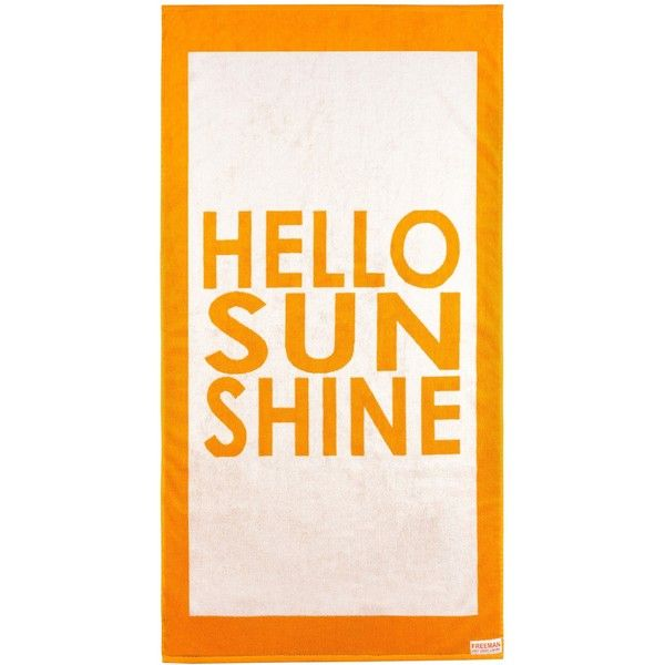 Hello Sunshine Beach Towel Color: Orange / White featuring polyvore, home, bed & bath, bath, beach towels, beach, words, fillers, accessories, quotes, text, phrase, saying, plain white beach towels, white beach towel, orange beach towel, oversized beach towels and plain beach towels
