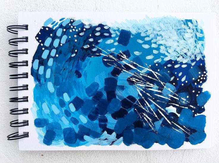"""Blue take II"" 🇬🇷   5.9x8.3"", acrylic on spiral bound paper."