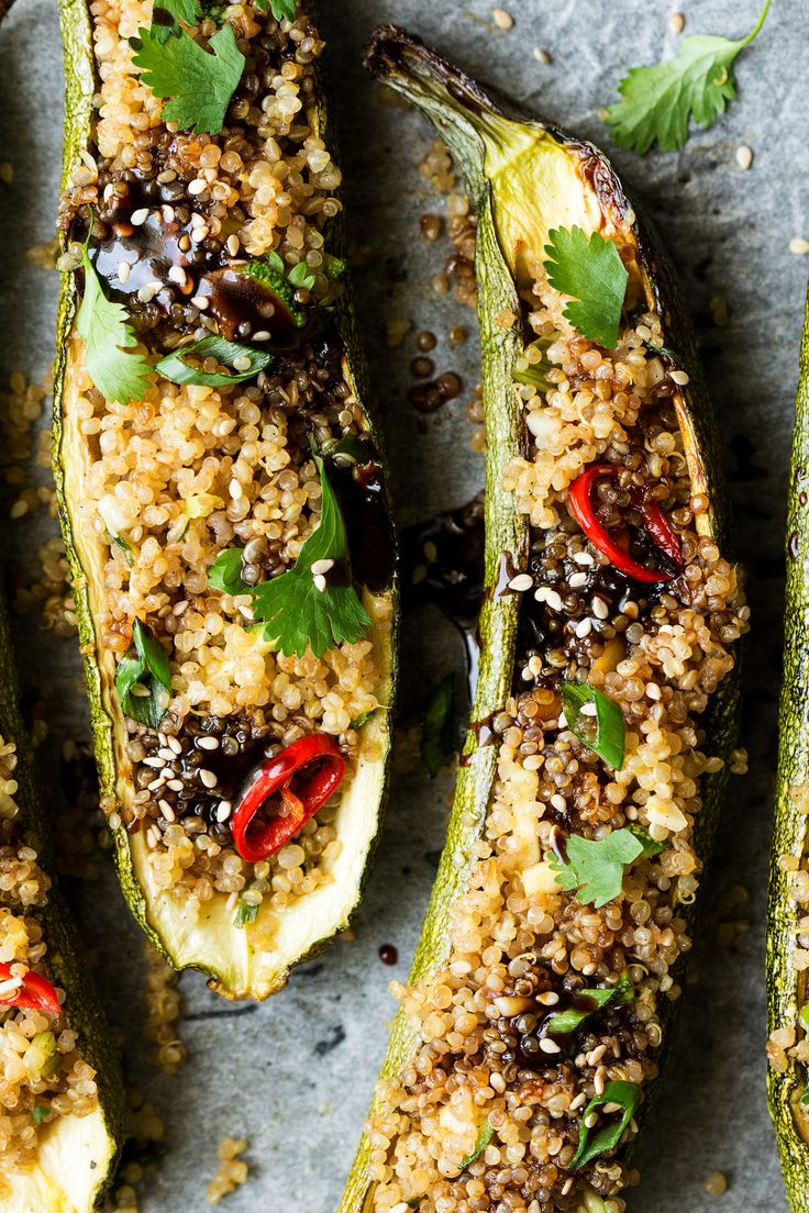 These vegan zucchini boats with Asian-inspired quinoa and soy-sesame glaze are simple to make and delicious. They make a great gluten-free lunch or starter.