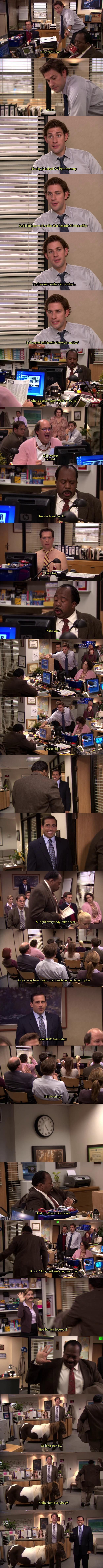 2nd favorite opening to The Office. 1st favorite - when they all sang a song together with Andy