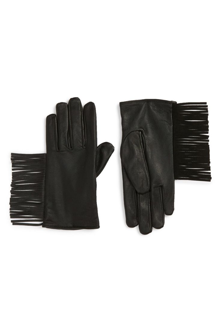 Thinsulate leather driving gloves - Fringe Thinsulate R Insulated Leather Gloves