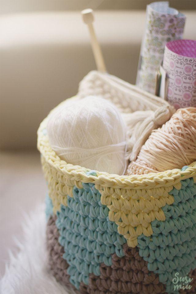 Cesta de Trapillo con Técnica de Crochet TAPESTRY
