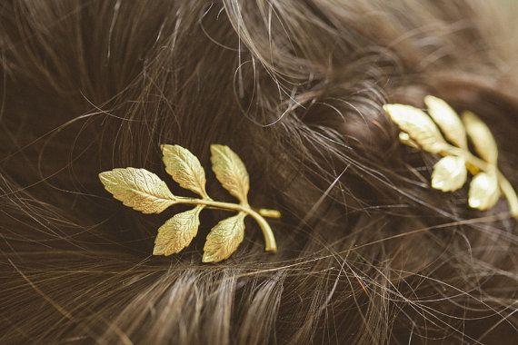 Gold Leaf Hair Piece Leaf Hairpiece Leaf Head by EchoandLaurel