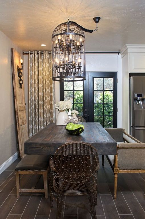 Eclectic dining room with french doors andersen windows for Dining room ideas with french doors