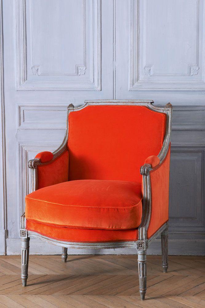 Cowtan & Tout Velvet Manuel Canovas Bergere chair orange