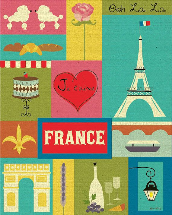 Eiffel Tower, France Collage - Original Vertical Art European City Poster Print for Home, Gift, Office, and Nursery  - style E8-O-FRA via Etsy