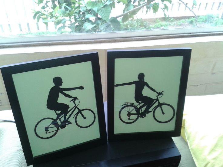 Composición de cuadros pareja ciclista