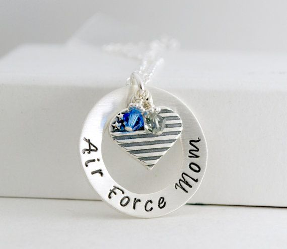 Air Force Mom Air Force Wife Necklace Hand Stamped Jewelry Military Charm Sterling Silver Birthday Gift for Air Force Mom or Wife  Air Force Mom or Air Force Wife is hand stamped on a 1 washer style sterling silver pendant. The inside opening of the washer is 5/8. The washer is slightly domed and given a brushed finish for a beautiful appearance.  If you are the mother of a son or daughter in a different branch of the military and you are interested in a necklace, we can design a necklace…