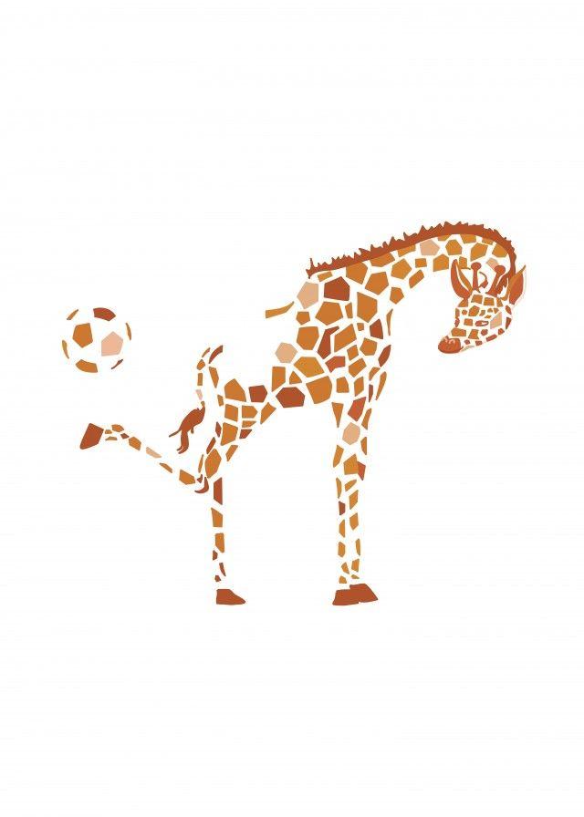 Kicking Giraffe, illustration by Christina Heitman Illustration & Design #nordicdesigncollective #christinaheitmanillustration&design #kicking #giraffe #football #circus #circus #tricks