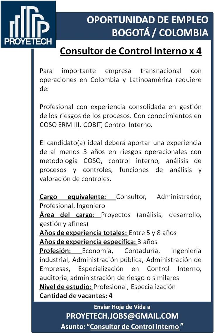 #empleo #COLOMBIA Profesional con experiencia consolidada en gestión de los riesgos de los procesos. Con conocimientos en COSO ERM III, COBIT, Control Interno.