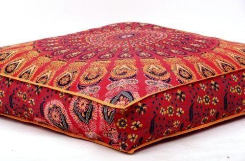 Indian Feather mandala piano cuscino ottomano pouf quadrato di giorno cuccia per cani/animali domestici Bhagyoday Fashions