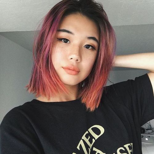 asian girl, makeup, and pink hair image