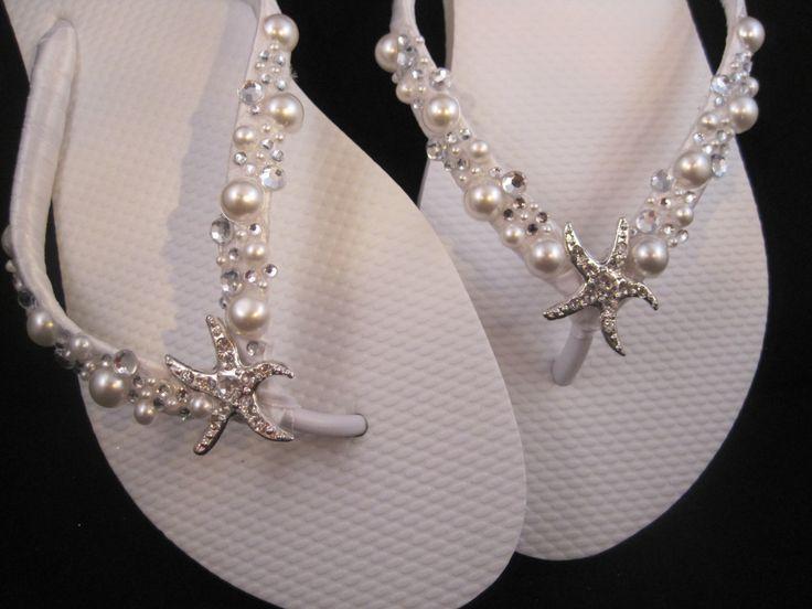 NEW 2013 So Sweet Bride Shoshanna Starfish Pearl and Swarovski Crystal Bridal Wedding Flip Flops. $34.95, via Etsy.