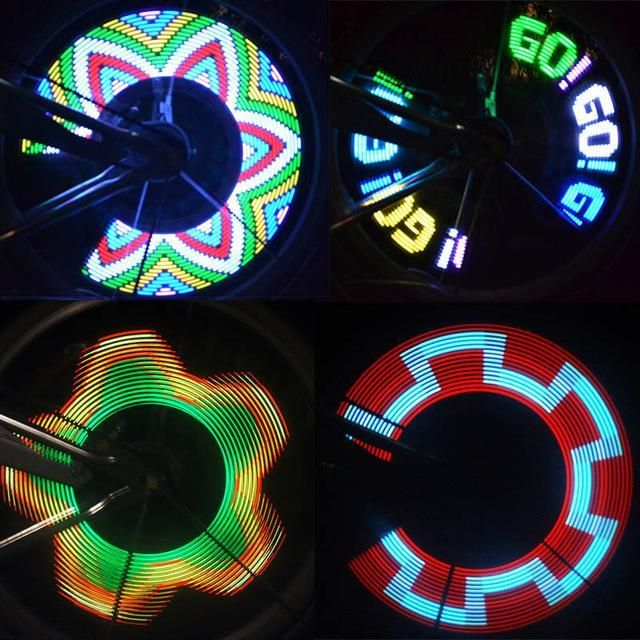 Colorful Rainbow LED Wheel Signal Lights Bikes bicycles Decor Lamp Cool for MTB Road Cycling Riding