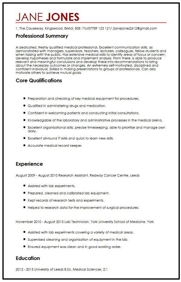 Cv Template Research Assistant Resume Examples Cv Template Student Cv Template Medical Resume Template