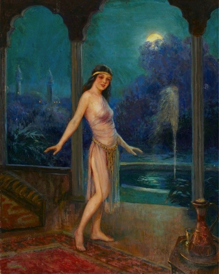 Harem Girl Dancing in the Moonlight: Frank Robert Harper: Art Print #VintageCommercialArt