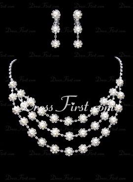 Smykker sett Jubileum bryllup Party Alloy sølv Smykker med Pearl (011017850)