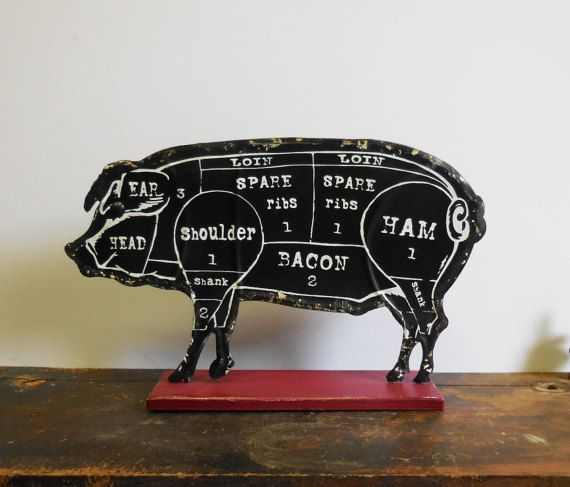 Pig metal sign Parts of hog Meat farmhouse kitchen Primitive rustic black w/ red base