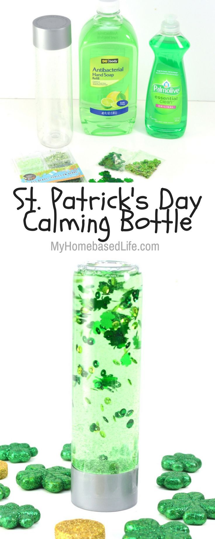 A super simple St. Patrick's Day Calming Bottle for your kids to make this year. Get creative and customize it however you'd like | Sensory Activity | Calming Bottle | St. Patrick's Day Crafts for kids | St Patricks Day | Crafts for kids | Kids Activities | Simple Crafts for Kids | #sensory #stparticksday #craftsforkids via @myhomebasedlife