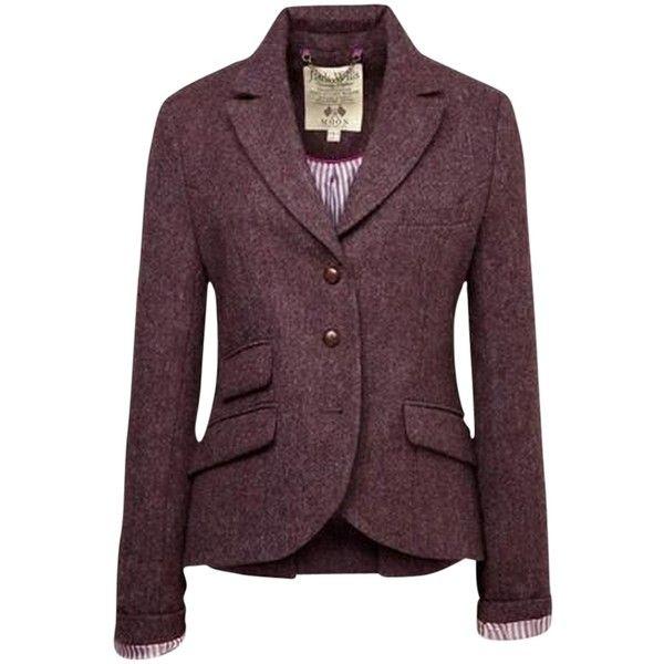 Pre-owned Jack Wills Tweed Austerberry Plum/eggplant Blazer ($123) ❤ liked on Polyvore featuring outerwear, jackets, blazers, wool tweed blazer, purple blazer jacket, blazer jacket, plum blazer and purple blazer